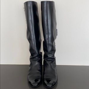 CHANEL Tall Leather Boots with Buckles